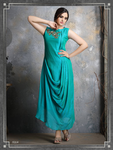Aqua Embroidered Party Wear Kurta