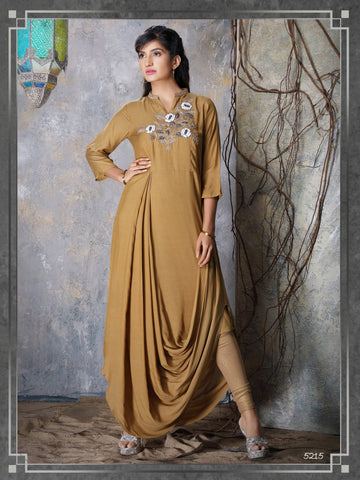 Light Brown Embroidered Party Wear Kurta