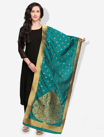 Green Colored Designer Banarasi Silk Dupatta With Heavy Jaquard Work