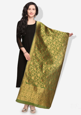 Mehendi Green Colored Designer Banarasi Silk Dupatta With Heavy Jaquard Work
