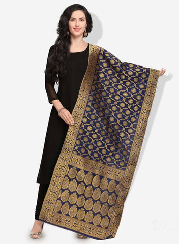 Navi Blue Colored Designer Banarasi Silk Dupatta With Heavy Jaquard Work