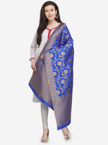 Blue Colored Designer Banarasi Silk Dupatta With Heavy Jaquard Work