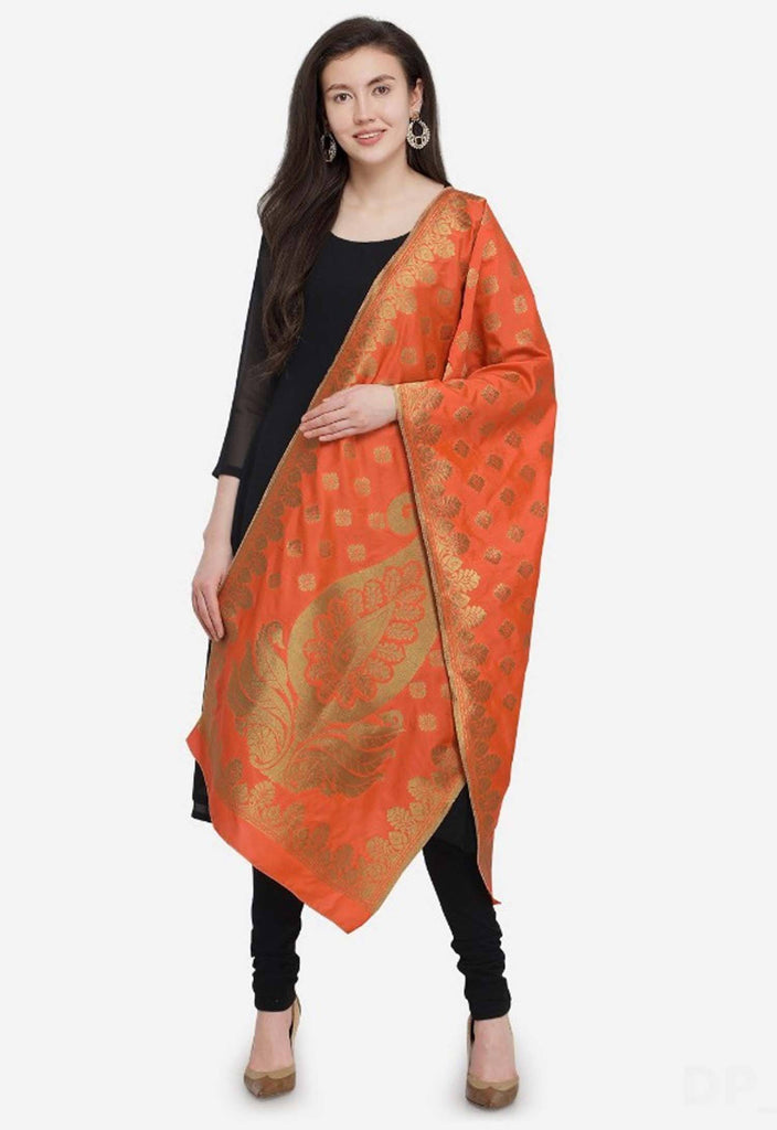 Orange Colored Designer Banarasi Silk Dupatta With Heavy Jaquard Work