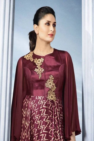 Maroon Long Designer Dress-www.riafashions.com
