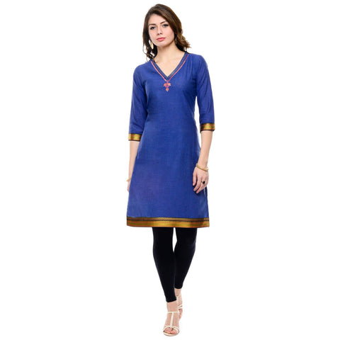 Navy Blue Cotton Kurti-www.riafashions.com