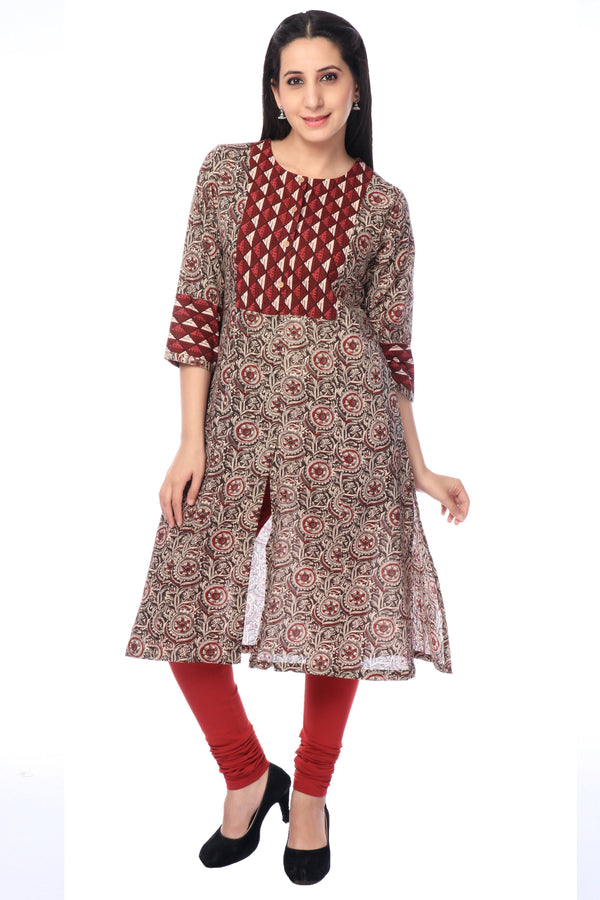 Black and Red Printed Cotton Kurti-www.riafashions.com