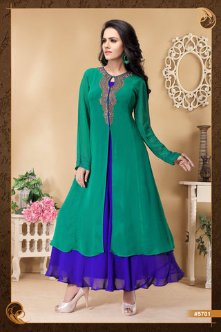 Green colour Embroidered Party Wear Kurti