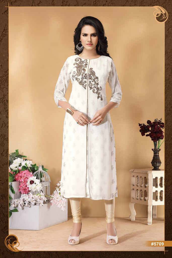 White Color Embroidered Party Wear Kurta