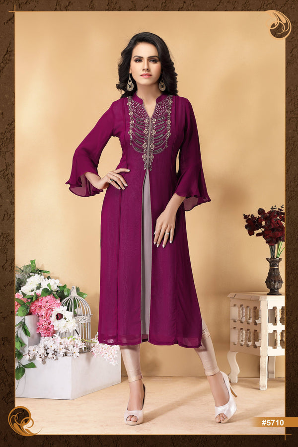 Violet Color Embroidered with Bell Sleeves Party Wear Kurta