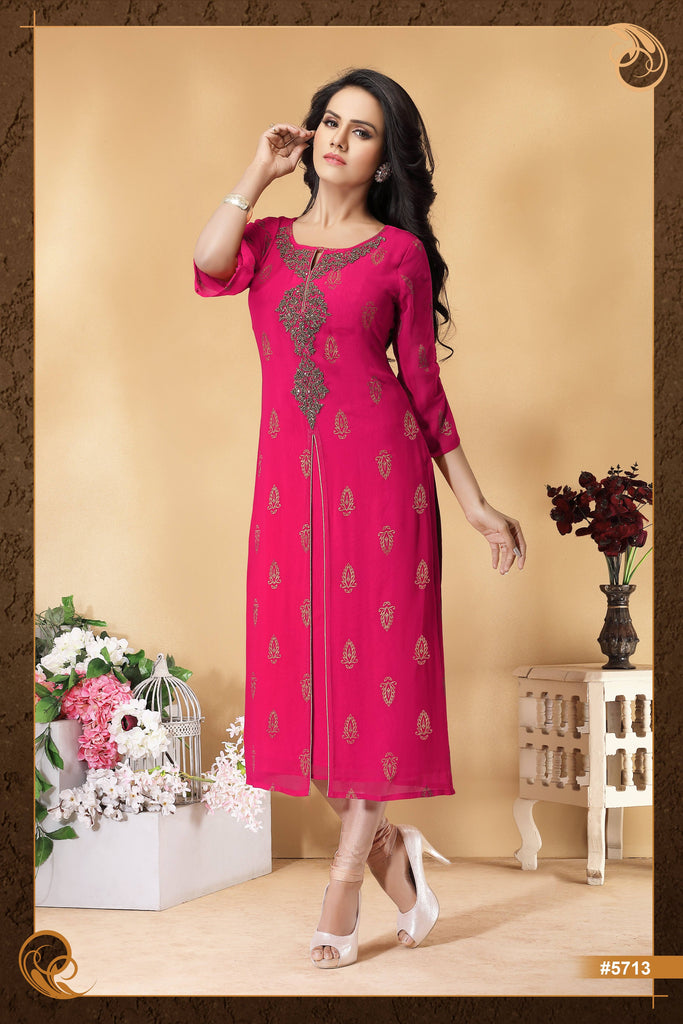 Pink colour Embroidered Party Wear Kurta