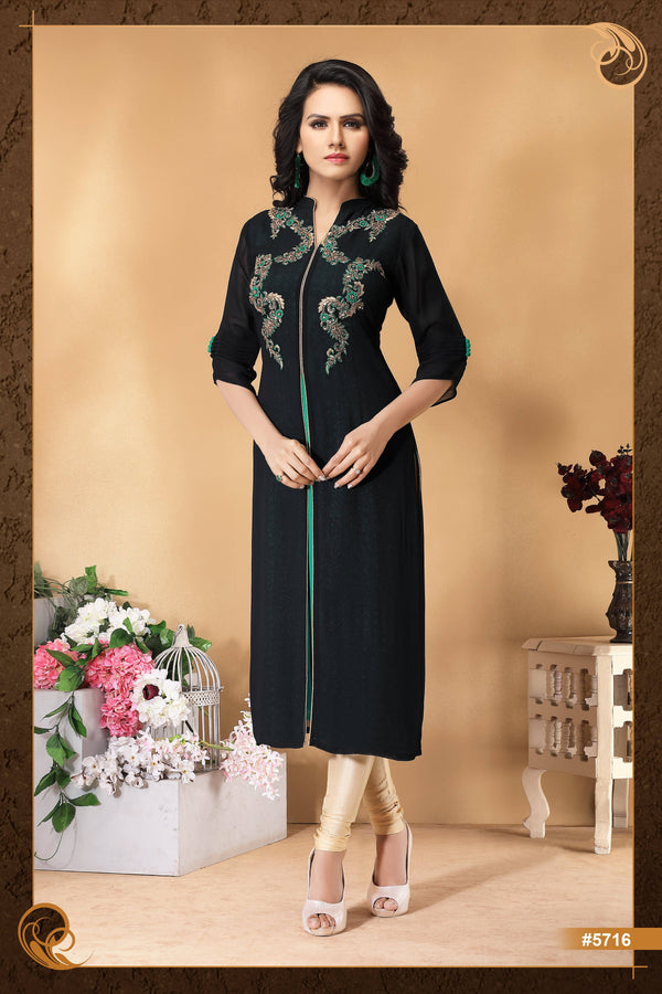 Black Colour Embroidered Party Wear Kurta