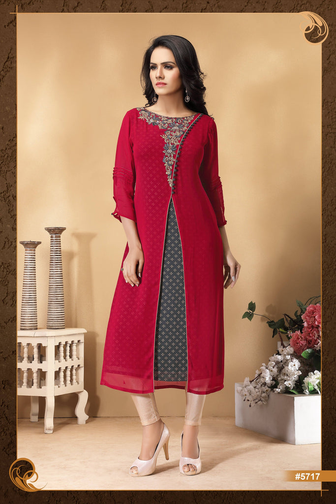 Red  Colour Embroidered Party Wear Kurta