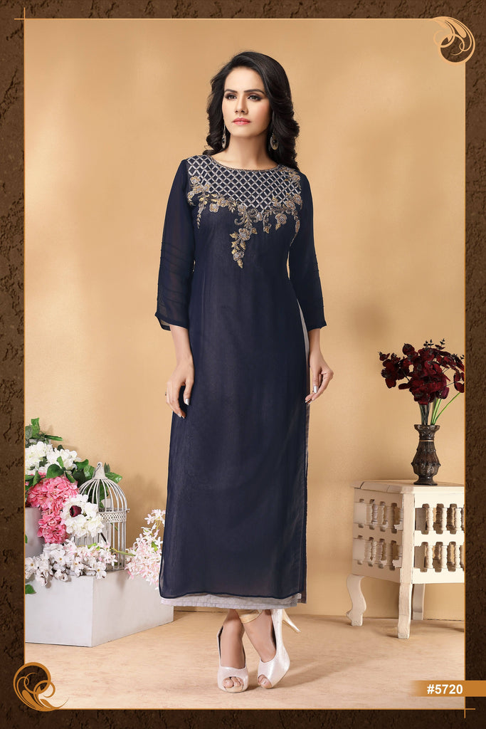 Dark  Blue Colour Embroidered Party Wear Kurta
