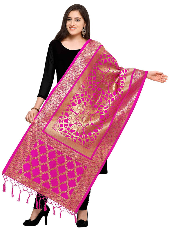 Pink Colored Designer Jacquard Dupatta With Jacquard Work