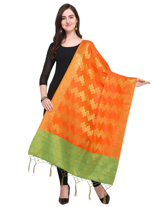 Orange Colored Designer Jacquard Dupatta With Jacquard Work
