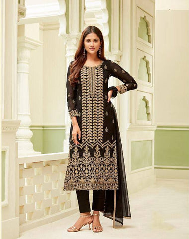Black Make to Order Salwar Suit