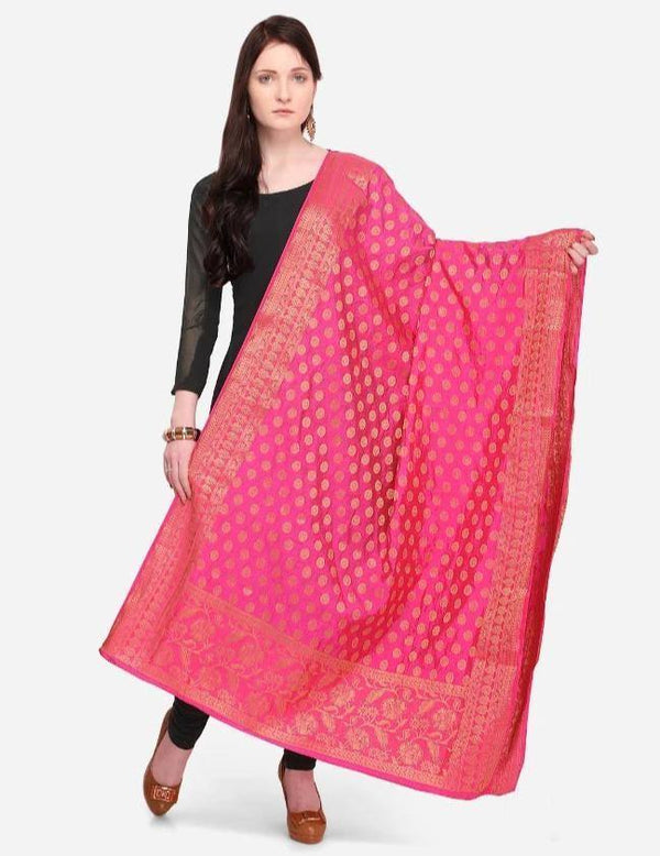 Pink Colored Designer Banarasi Dupatta With Jacquard Work