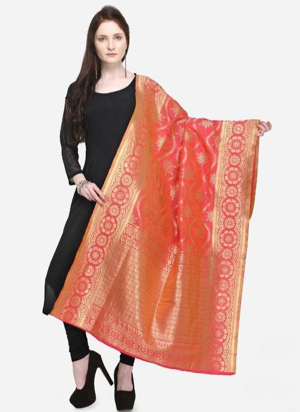 Peach Colored Designer Banarasi Dupatta With Jacquard Work