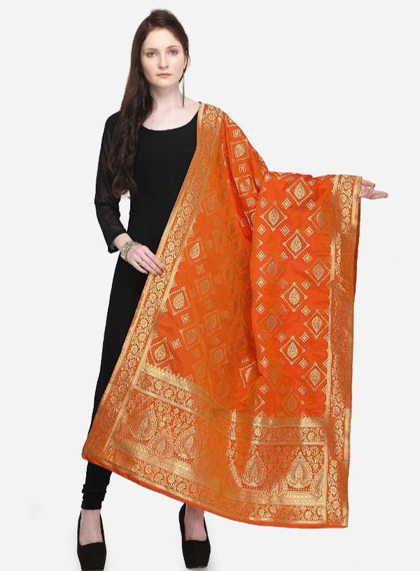 Orange Colored Designer Banarasi Dupatta With Jacquard Work