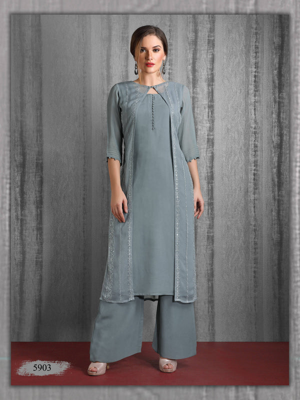 Grey Embroidered Party Wear Palazzo Kurta