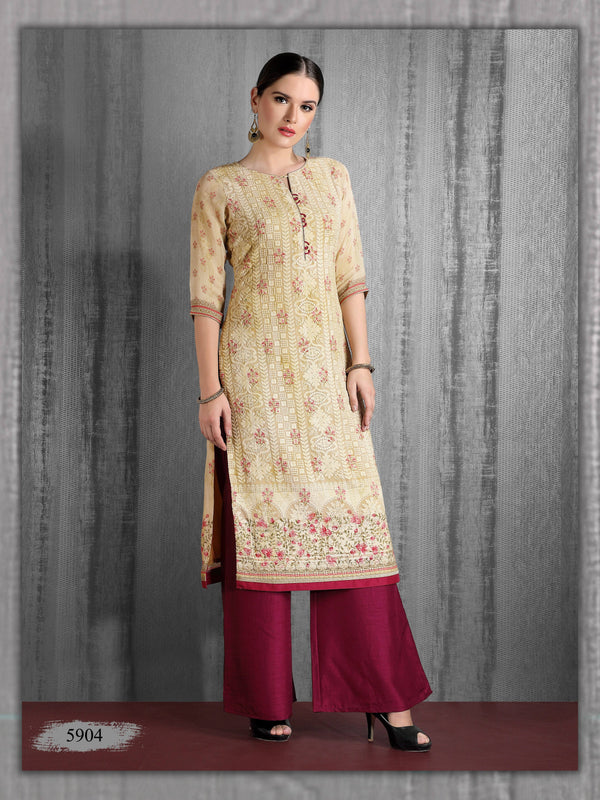 Cream Embroidered Party Wear Palazzo Kurta
