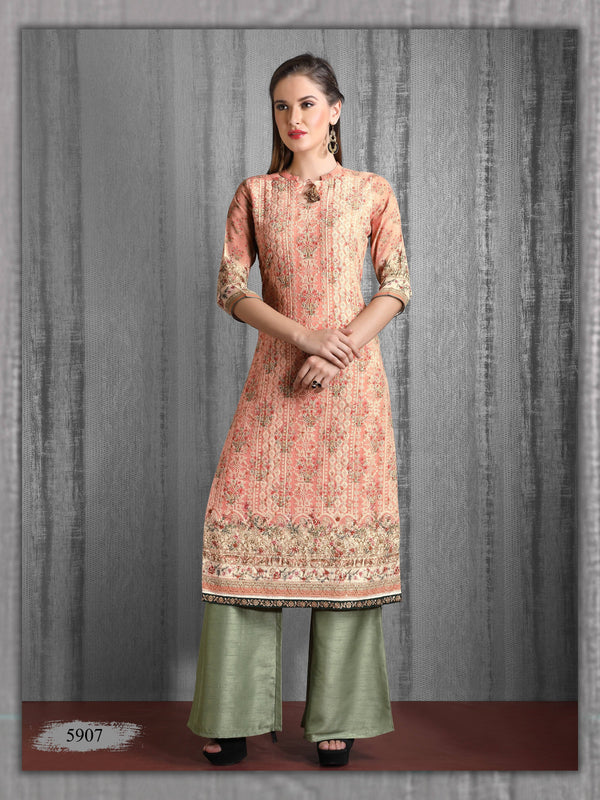 Peach Embroidered Party Wear Palazzo Kurta