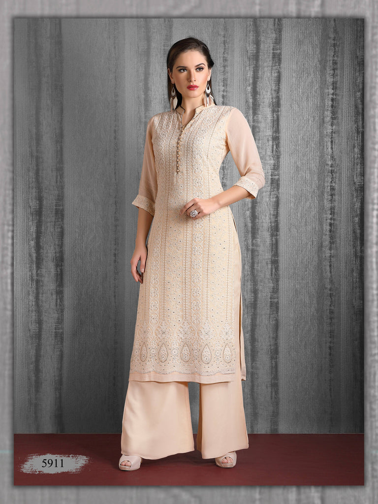 Light Pink Embroidered Party Wear Palazzo Kurta