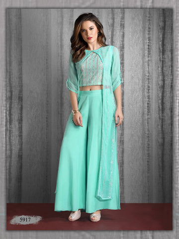 Aqua Blue Embroidered Party Wear Chiffon Crop Top With Palazzo and Cape