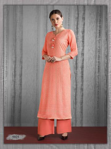 Peach Embroidered Party Wear Kurta With Palazzo