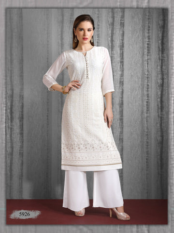 White Embroidered Party Wear Kurta With Palazzo