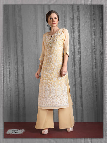 Cream Embroidered Party Wear Kurta With Palazzo