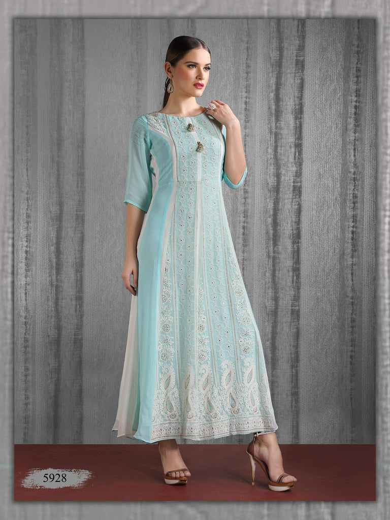 Light Blue Embroidered Party Wear Long Kurta
