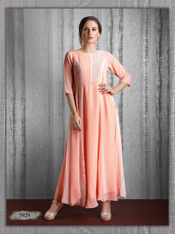Peach Brown Embroidered Party Wear Long Kurta