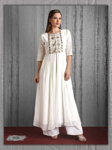 White Embroidered Long Party Wear Kurta With Palazzo