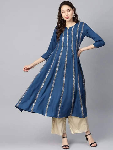 Ravishing Dark Blue Colored Cotton Kurti
