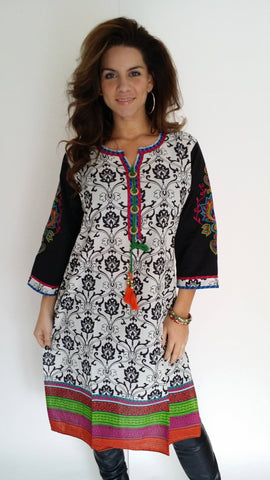 Cotton Printed kurti with embroidered sleeves-www.riafashions.com