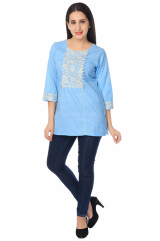 Blue Cotton Linen Kurti-www.riafashions.com
