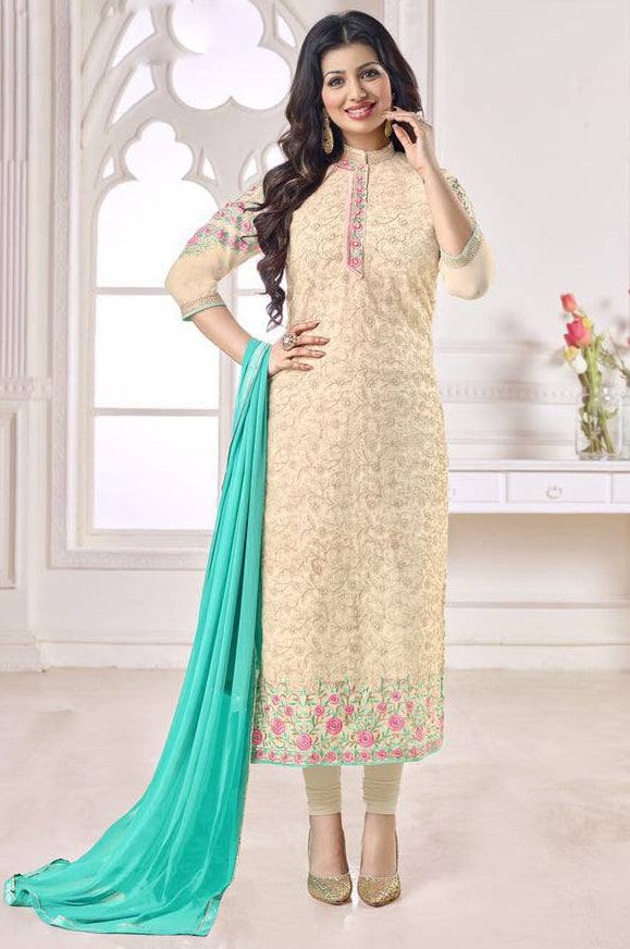 Cream embroidered Suit-www.riafashions.com