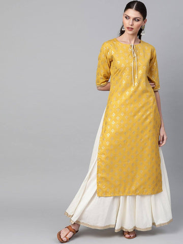 Mustard Yellow & Golden Block Printed Straight Kurta