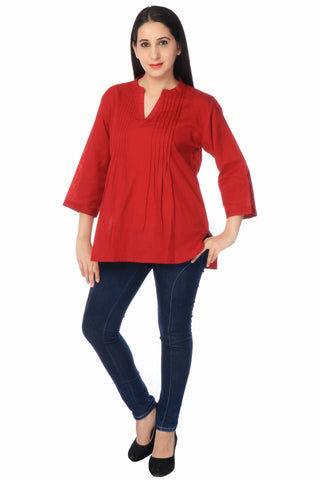 Red Cotton Linen Kurti-www.riafashions.com