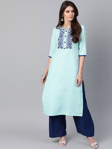 Blue Yoke Design Straight Kurta