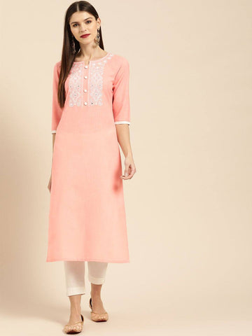 Pink & White Yoke Design Straight Kurta