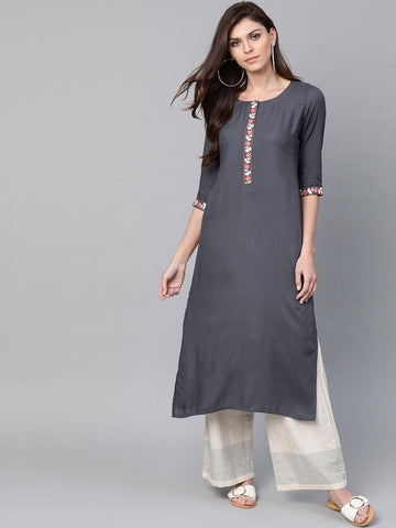 Charcoal Grey Design Straight Kurta