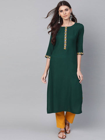 Green Woven Design Straight Kurta