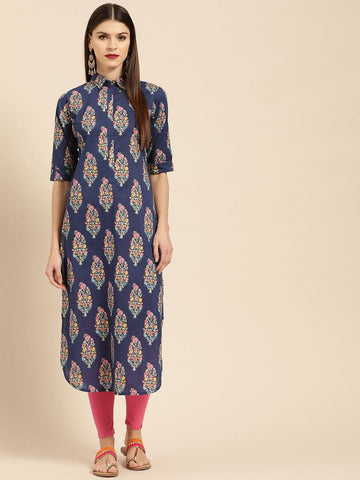 Navy Blue & Pink Printed Pathani Kurta