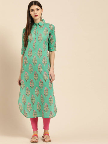 Green & Pink Printed Pathani Kurta