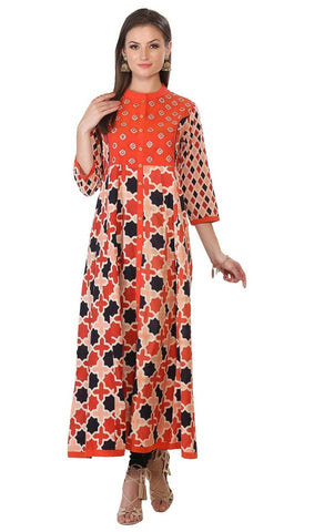 Orange Embroidered Geometric Patterned Cotton Kurti-www.riafashions.com