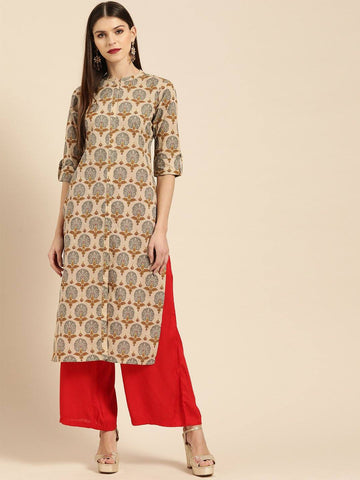 Beige & Grey Printed Straight Kurta