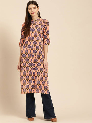 Peach & Blue Printed Straight Kurta