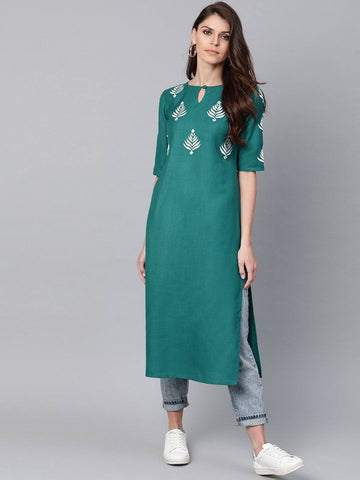 Teal Blue Yoke Design Straight Kurta